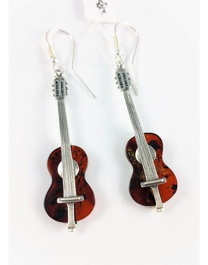 Bursztynowe gitary - niezwykłe kolczyki