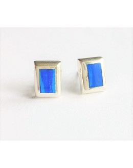 Kolczyki prostokąty z niebieskim opalem australijskim