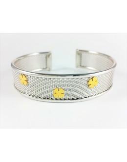 Elegancka srebrna bransoleta ze złoconymi koniczynkami