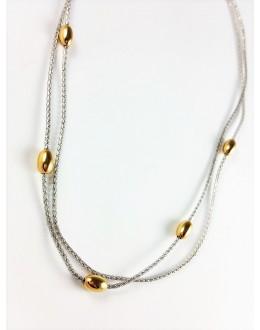 Naszyjnik ze srebra ze złoconymi kuleczkami