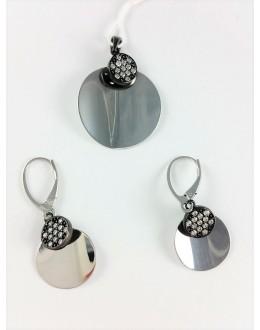 Lustrzany komplet biżuterii kółka z cyrkoniami