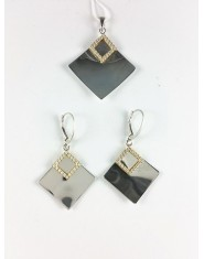 Lustrzany komplet biżuterii romby z cyrkoniami