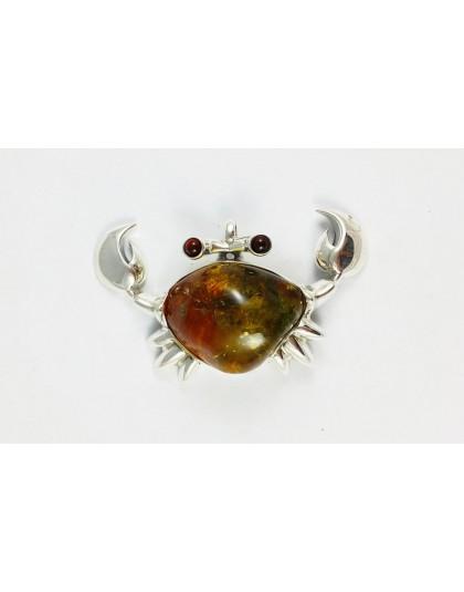 Wisior krab ze srebra i koniakowego bursztynu