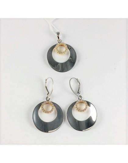 Lustrzany komplet biżuterii koła z cyrkoniami