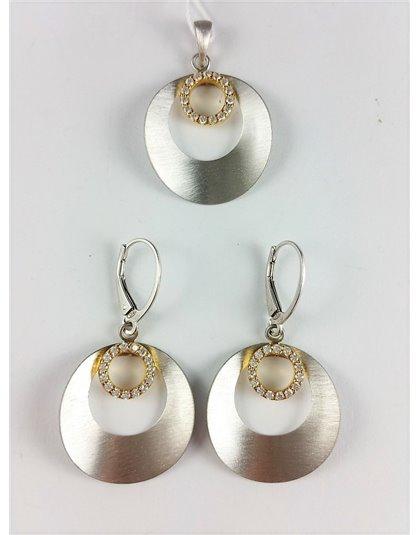 Matowy komplet biżuterii koła z cyrkoniami