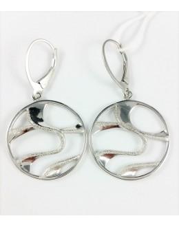 Okrągłe kolczyki ze srebrnymi falami