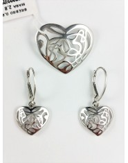 Komplet biżuterii ażurowe serca