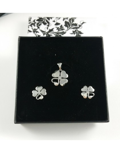 Komplet biżuterii czterolistne koniczynki