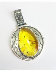 Przejrzysty bursztyn w oprawie z oksydowanego srebra