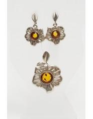 Komplet biżuterii kwiaty z bursztynem