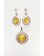 Komplet biżuterii z cyrkoniami i bursztynem