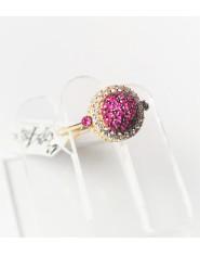 Złoty pierścionek z rubinowymi oczkami  r 11