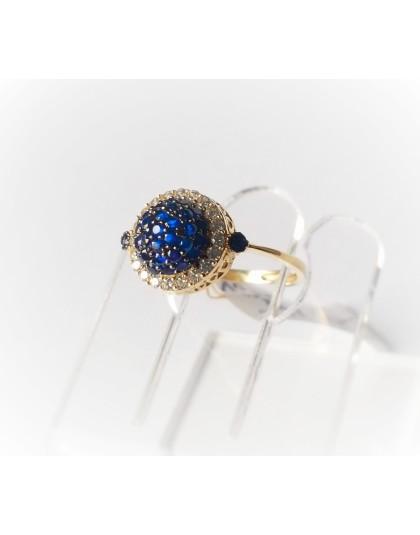 Złoty pierścionek z granatowymi oczkami r 12