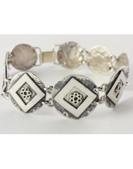 Bransoleta srebrna romby