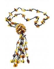 Naszyjnik z bursztynem - plecionka