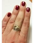 Złoty pierścionek z białymi cyrkoniami r 16