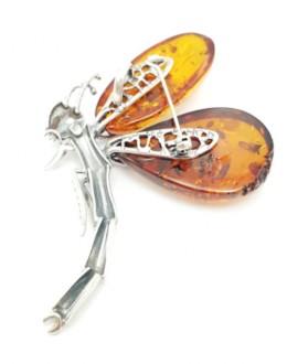 Wisior z bursztynem  (broszka) - ważka