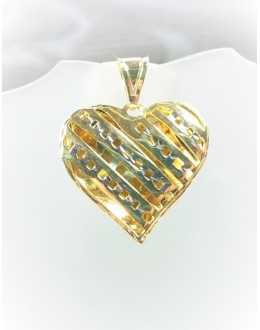 Złota ażurowa zawieszka serce w paski