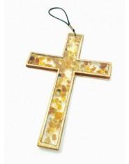 Krzyż z zatopionymi bursztynkami