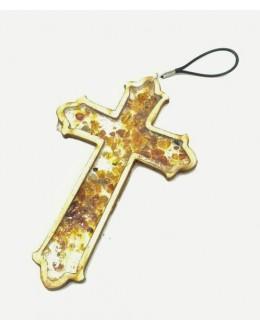 Krzyż z zatopionymi bursztynkami celtycki