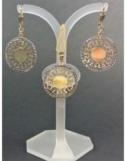 Komplet złotej biżuterii koła z greckim wzorem
