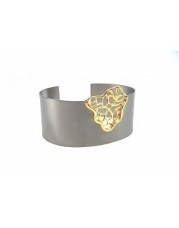 Nowoczesna bransoleta ze pozłacanego srebra i tytanu