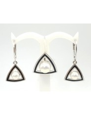 Srebrny komplet z perłami