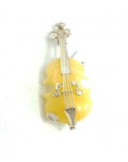 Bursztynowa broszka i zawieszka skrzypce