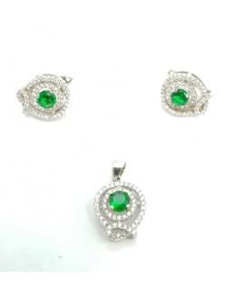 Srebrny komplet z zielonymi kryształkami