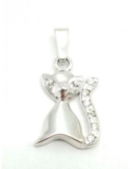 Zawieszka mały kotek ze srebra ozdobiona cyrkoniami