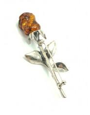 Srebrna brosza z bursztynową różą