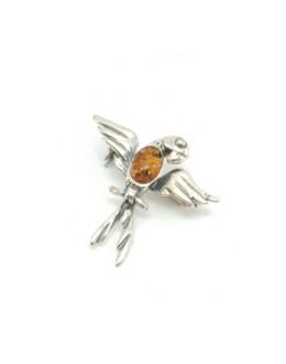 Broszka srebrna papuga ozdobiona bursztynem