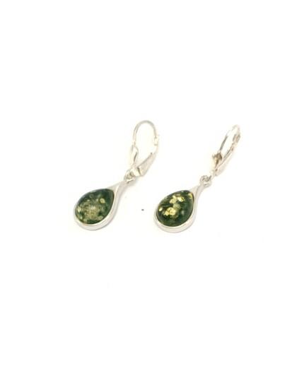 Bursztynowe kolczyki - zielone krople w srebrnej oprawie