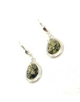 Bursztynowe kolczyki - zielone łezki w srebrnej oprawie