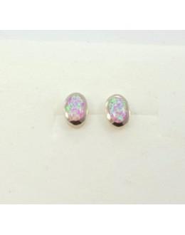 Kolczyki sztyfty z różowym opalem australijskim