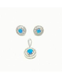 Komplet biżuterii z opalami australijskimi i cyrkoniami