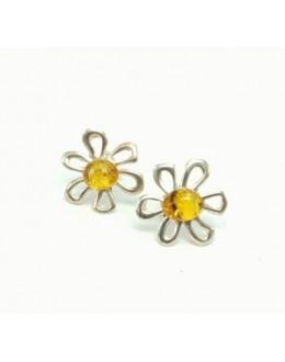 Kolczyki bursztyn w srebrze - kwiatki