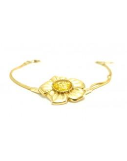 Pozłacana srebrna bransoletka kwiatuszek