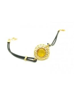 Pozłacana srebrna bransoletka na kauczuku