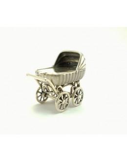 Wózek dziecięcy - srebrna miniaturka - na chrzest