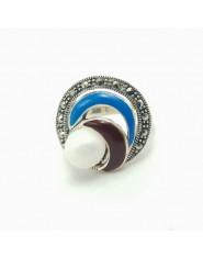 Srebrny pierścień z perłą i markazytami r. 18
