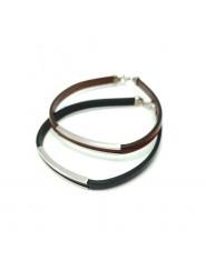Skórzana bransoletka ze srebrem - czarna i brązowa