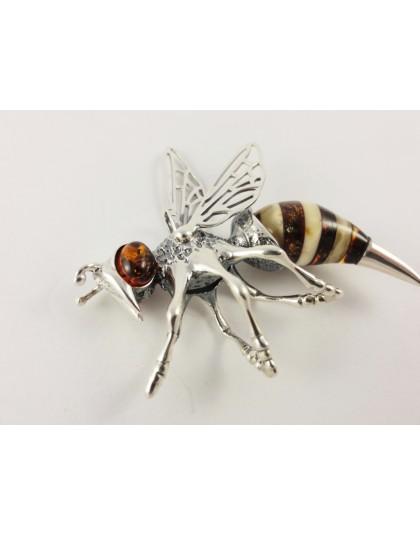 Wisior pszczoła z bursztynu duży