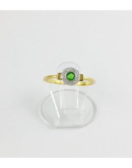 Złoty pierścionek kółko z zieloną cyrkonią r 14