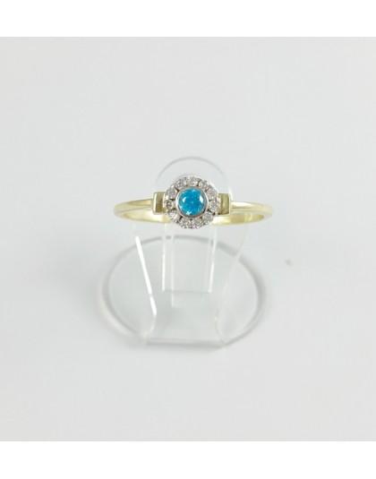 Złoty pierścionek z turkusową cyrkonią r 16