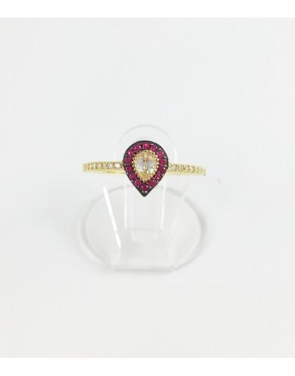 Złoty pierścionek różowa łezka r 15