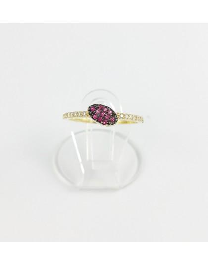 Złoty pierścionek różowy owal r 12