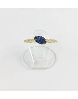 Złoty pierścionek owal z granatowymi cyrkoniami r 15