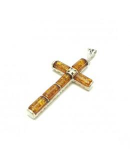 Piękna zawieszka krzyż z bursztynami