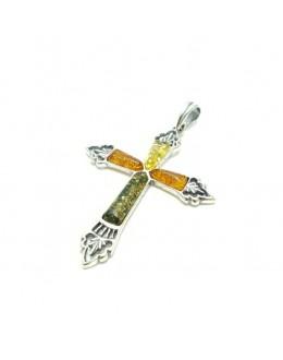 Piękna zawieszka krzyż z różnokolorowymi bursztynami